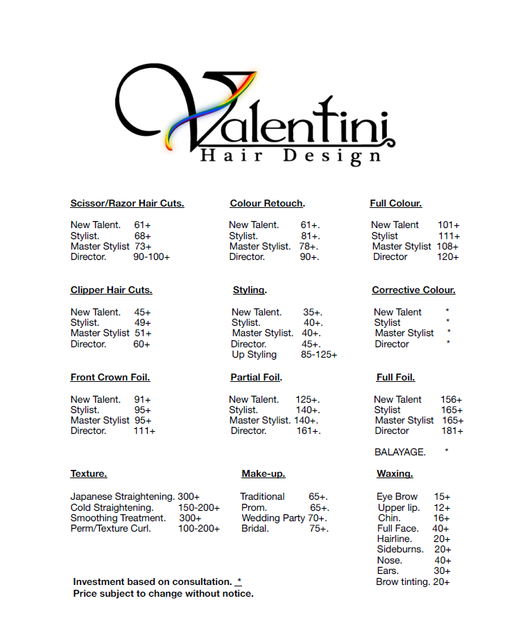 hair and makeup services pricing list